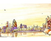 Good Evening London, Architectural sketch in watercolor and ink - 14x5 print