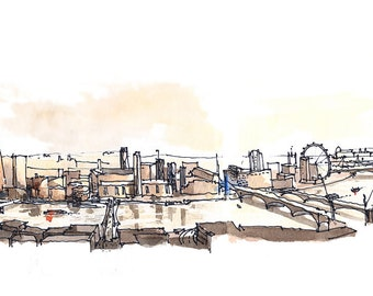River Thames, Architectural sketch in watercolor and ink - 14x5 print