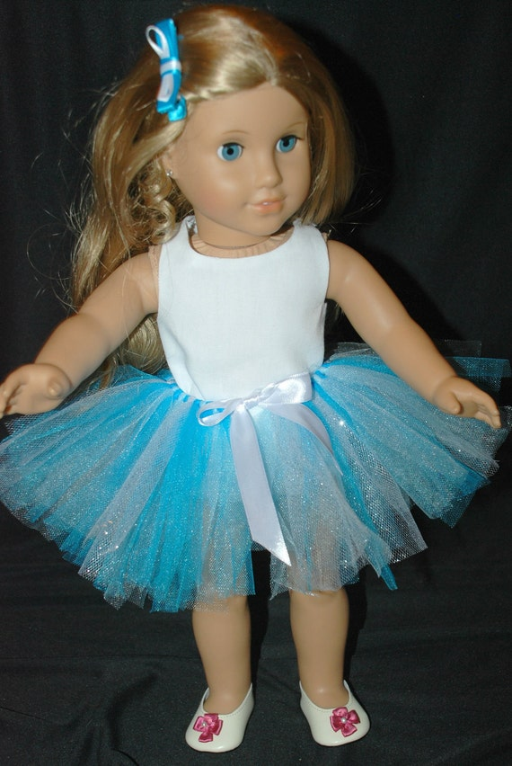 American Doll 18 inch doll clothing, Blue and white 2 piece outfit including: tutu, and hair bow blue