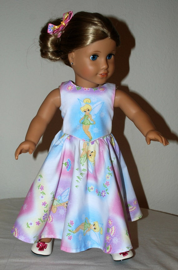 American Girl, 18 inch doll clothing, 3 Piece Tinkerbell top, full skirt and matching hair bow