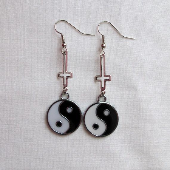 inverted cross yin yang earrings