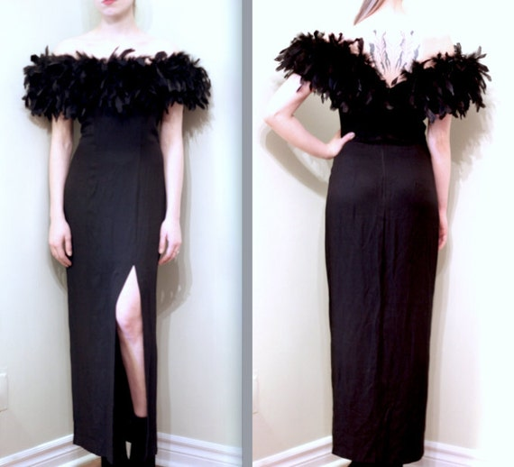 """1990's """"Old Hollywood"""" Gown w/Feather Boa Neckline and Ultra High Slit"""