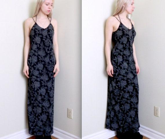 "1990's ""Ghost Flower"" Maxi Dress"