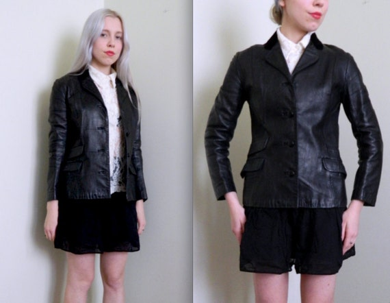 Rare Equestrian Leather Blazer w/Velvet Collar (Xs)