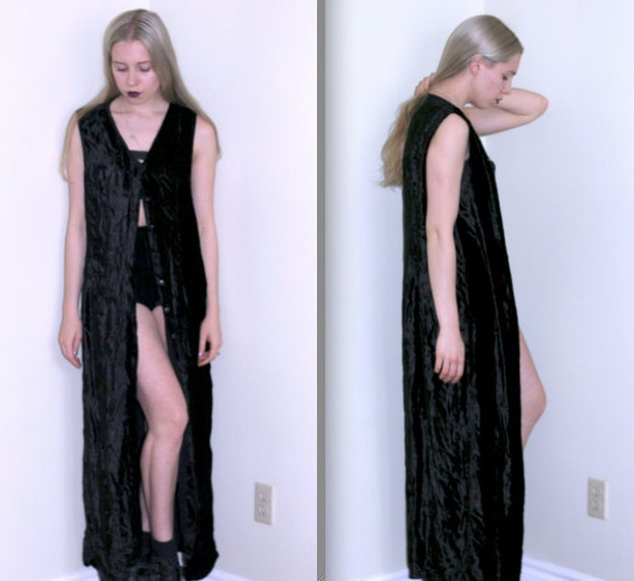 RESERVED Crushed Velvet Button-Up Maxi Dress/Duster