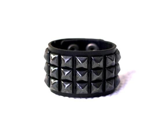 Genuine Leather Cuff w/Gunmetal Studs