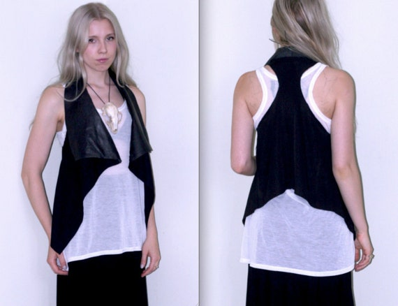 Draped Asymmetrical Vest with Leather Collar