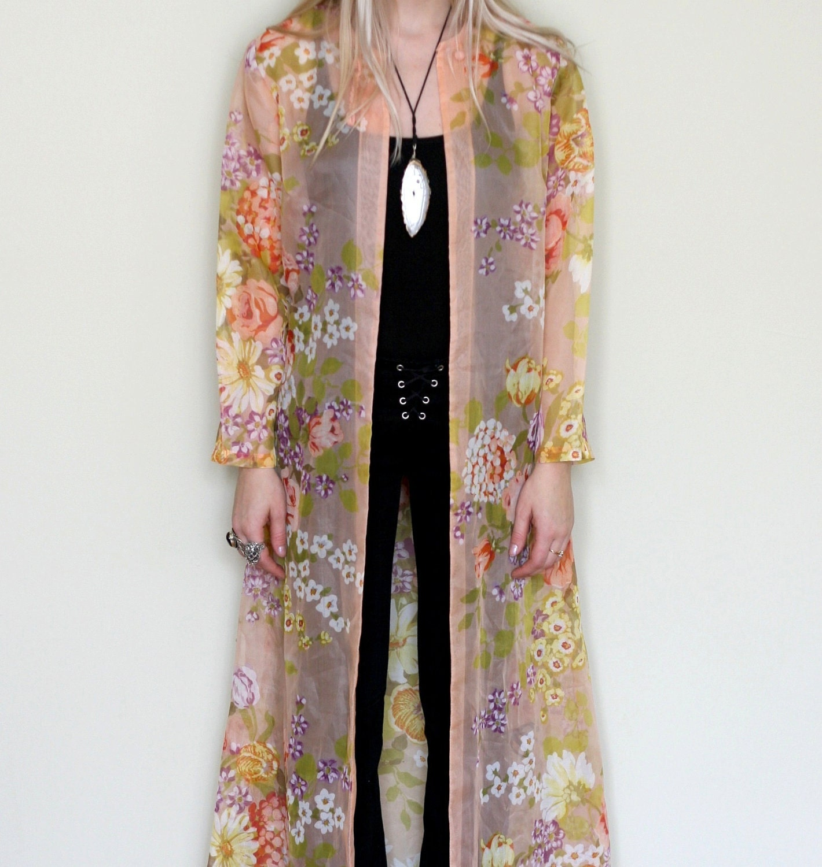 Sale 1960 S Sheer Floor Length Kimono