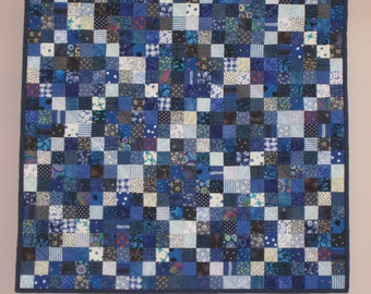 Blue Postage Stamp wall quilt
