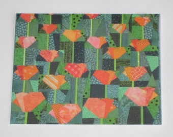 Cal. Poppies quilt note card (folded)