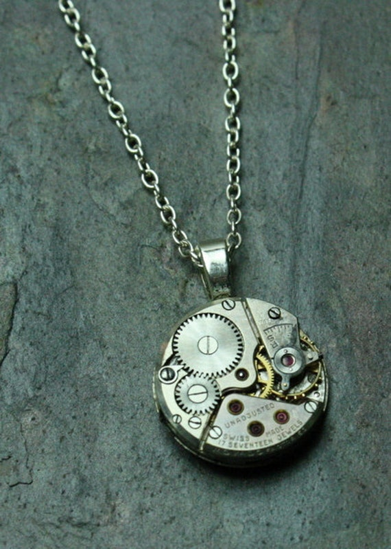 Steampunk Watch Movement Round Silver Recycled Watch Pendant with 18 Inch Sterling Silver Necklace