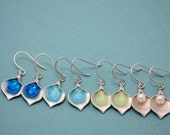 228- Happy - Silver calla lilly with faceted crystal briolette earrings
