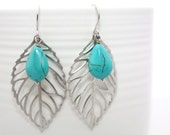 470 -Manifest - Silver leaf with turquoise briolette earrings