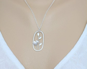 039- Vibrance - Sterling Silver Oval double flower necklace