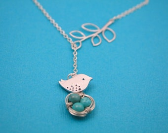 164- Gratitude - Sterling Silver bird with nest and leaf lariat necklace
