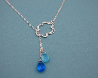 141- It's Raining, It's Pouring...Sterling Silver cloud and raindrops lariat necklace