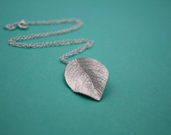 123- Sincerity - Sterling Silver realistic leaf necklace