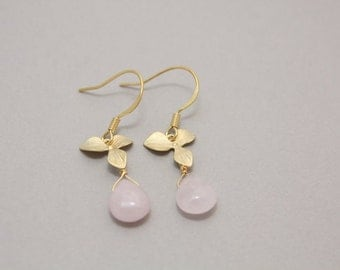 023- Prosperity  - Gold orchid and rose quartz earrings