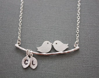 179- Two love birds on branch with initial leaf, necklace, gift, sterling silver, chic, casual, modern