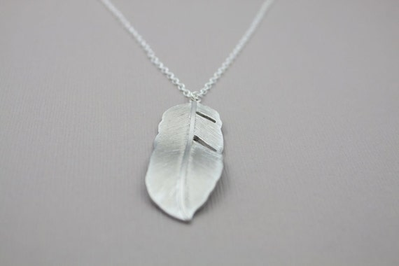 212- Birds of a feather - Sterling silver feather necklace
