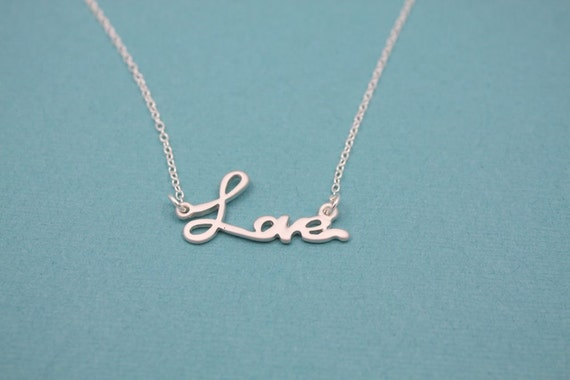 029- Love - Sterling silver love necklace