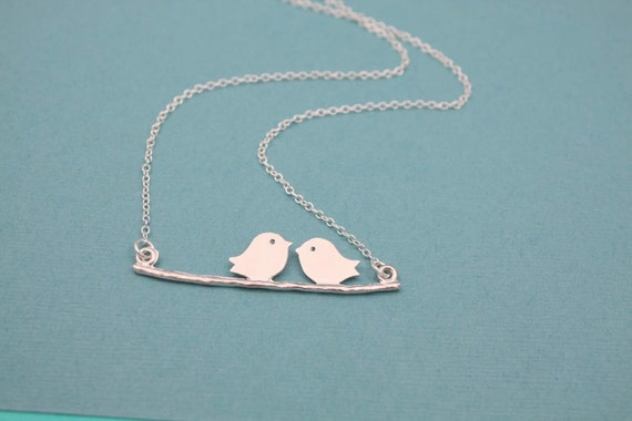 186- Friendship - Sterling silver bird on branch necklace