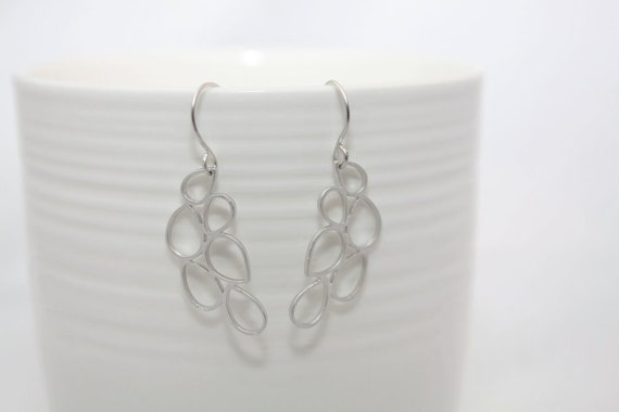 143- Intuition - Silver abstract teardrop earrings