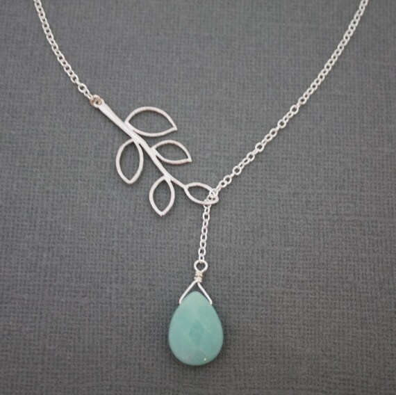 166- Sterling Silver - five leaf branch with amazonite drop necklace, gift,chic, casual, modern