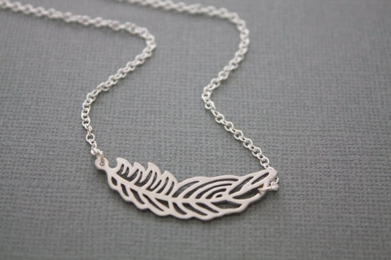 086- Embrace - Silver feather necklace, sterling silver necklace