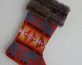 BLACK FRIDAY & CYBER Monday: Red Pendleton Wool Stocking with Fur Trim
