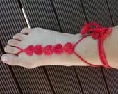 Hearts  barefoot sandals - Beach Barefoot Sandals -  Summer Barefoot Sandals - Love barefoot sandals - Valentine barefoot sandals