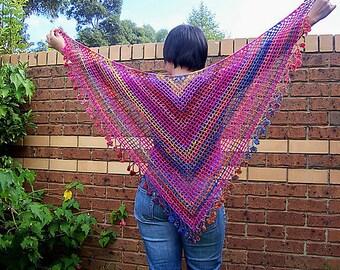 CROCHET PATTERN - Shawl pattern - Crochet Shawlette - Crochet Long Scarf - Crochet Neckwear - Crochet Beach wrap - belly dancing wrap DIY