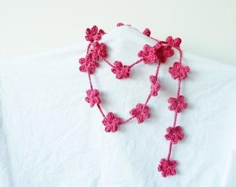 CROCHET PATTERN - Crochet SAKURA - Crochet Flower Lariat - Crochet lanyard - crochet necklace  - crochet belt - Crochet Hanging Mobile