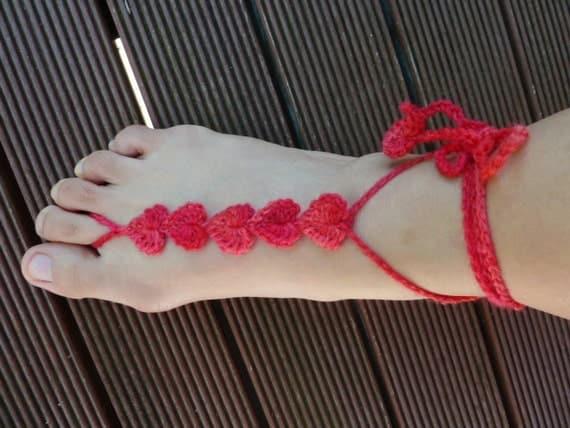 CROCHET PATTERN - Crochet Hearts  barefoot sandals - Crochet Beach Barefoot Sandals - Crochet Summer Barefoot Sandals-Simple Crochet Pattern