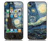 Apple iPhone 4/4s, iPhone 5/5s, iPhone 5c, iPhone 6, iPhone 6 Plus Decal Skin Cover - Van Gogh Starry Night Cover