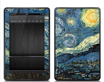 "Amazon Kindle Fire Decal Skin Cover - Kindle Fire HD 7"" 8.9"" Skin Cover - Van Gogh Starry Night"