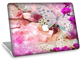 "Apple Macbook Air 11"" 13"" Decal Skin and Apple Macbook Pro 13"" 15"" Decal Skin w/  Apple Cutout - Butterfly Pink Passion"