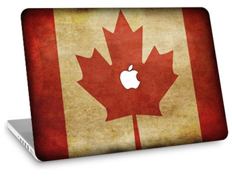 "Apple Macbook Air 11"" 13"" Decal Skin and Apple Macbook Pro 13"" 15"" Decal Skin w/  Apple Cutout - Canadian Flag"