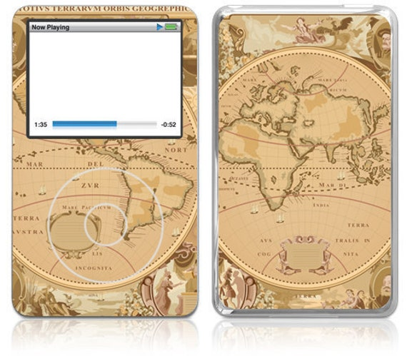 Apple iPod Classic Decal Skin Cover - Old Map