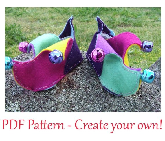 Bright and Fun Jester Booties pattern PDF for babies 3-16 months (size 3 - 6).  INSTANT DOWNLOAD.