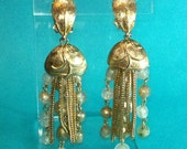 SALE 1940s 1950s Faux pearl, glass drop earrings with swinging chains gold tone. Price reflects previous price.