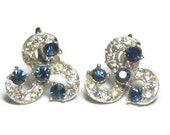 Bogoff signed blue and clear rhinestone silver plate stud earrings with screwback