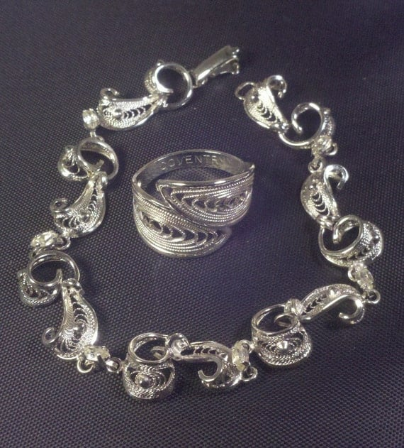 RESERVED FOR  SOLJAC Am Lee sterling silver bracelet and  Sarah Coventry ring in silver plate