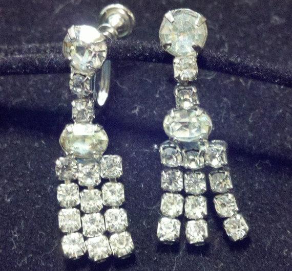 Vintage rhinestone screw-back drop earrings