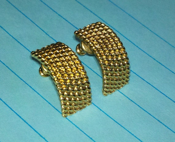 Classic Monet signed braid post earrings gold tone