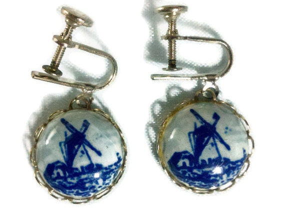Hand painted Blue Delft  windmill screw back earrings on card made in Holland
