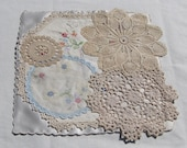 FREEPOST Beaded Doily collage dressing table mat or centrepiece