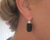 One of a kind black free form natural tourmaline and pearl sterling silver earrings - OOAK