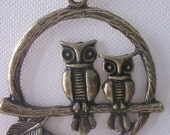 Vintage brass owl pendant with brass plated chain