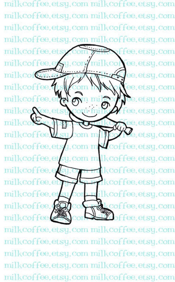 Digital Stamp a Boy Plays Baseball